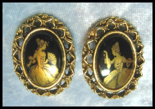 Earrings with Elegant Lady Figures