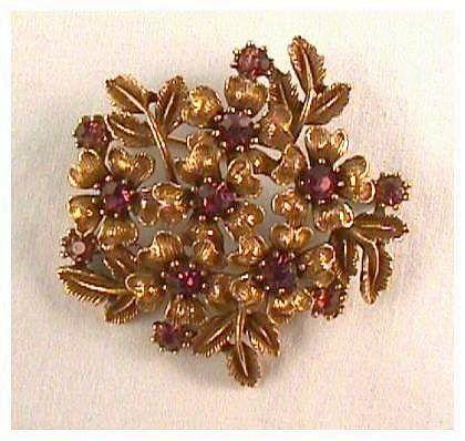 Vintage Coro Pin with Amethyst Stones