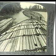 Rafts of Logs, Columbia River, Washington - Keystone Stereo View