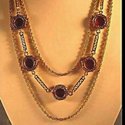 Gorgeous Gold-Tone Necklace with Lipstick Red Disks