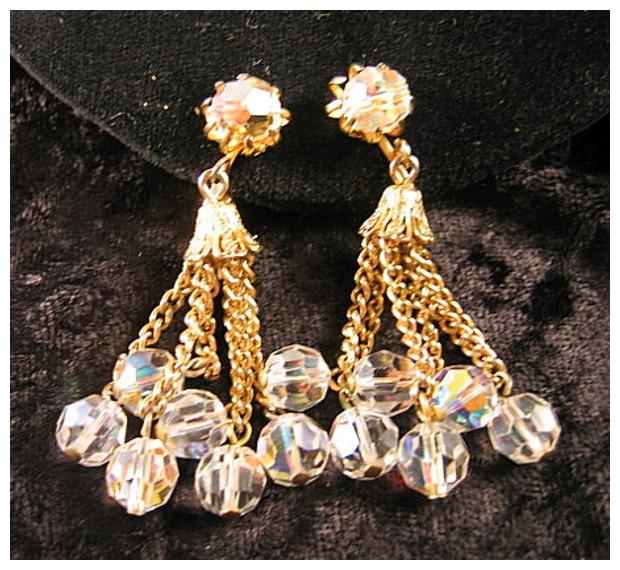 Crystal and Gold-tone Drop Earrings