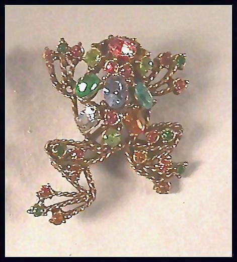 Fanciful Frog Pin with Rhinestones