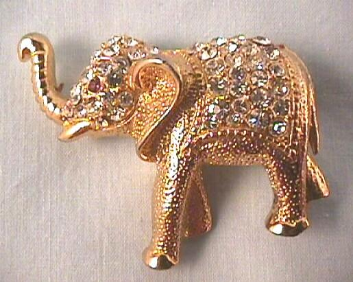 Handsome Elephant Pin with Rhinestones