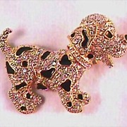 Puppy Dog Pin with Rhinestones and Black Enamel