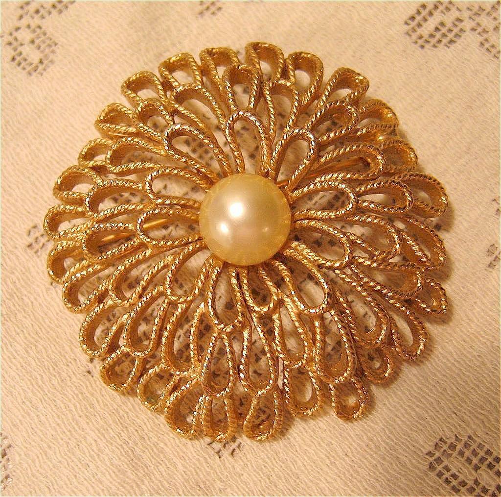 Gold-tone Trifari Pin with Faux Pearl