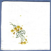 Lovely White Handkerchief with Gold and Green Embroidery