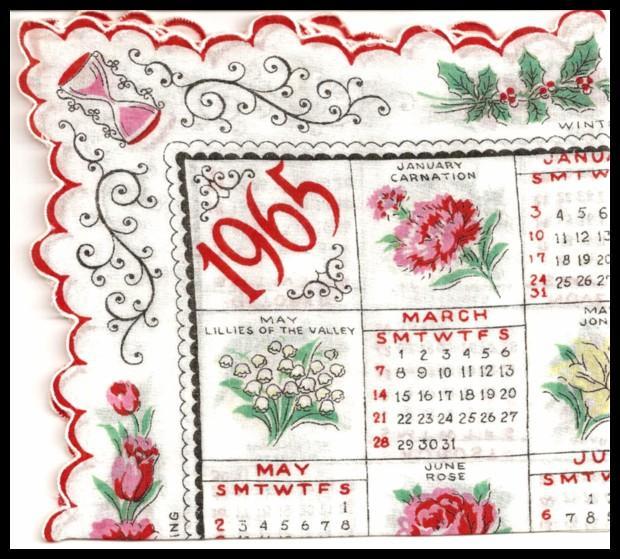 Calendar Handkerchief 1965