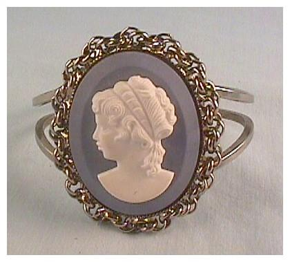 Clamper Bracelet with Faux Wedgewood Cameo