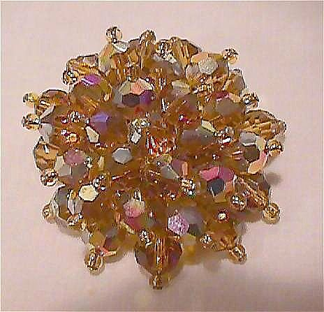 Amber Colored Crystal Pin - Aurora Borealis Brooch