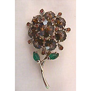 Juliana Amber Crystal Flower Pin with Margarita Stones