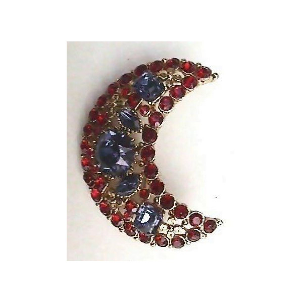 Knock-Out Red and Cobalt Blue Rhinestone Crescent Shaped Pin Brooch
