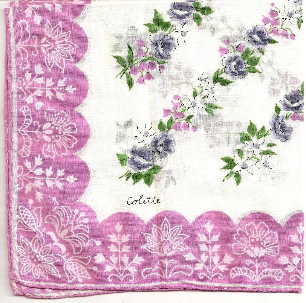 Pretty Floral Hankie Signed Colette