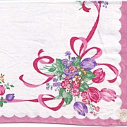 Lovely Vintage Handkerchief with Dusty Pink Edge