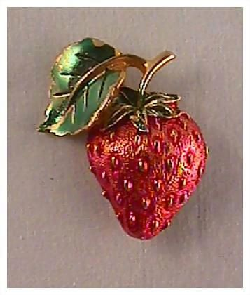 Succulent Strawberry Fruit Pin Brooch
