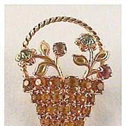 Perky Petite Rhinestone Basket Pin