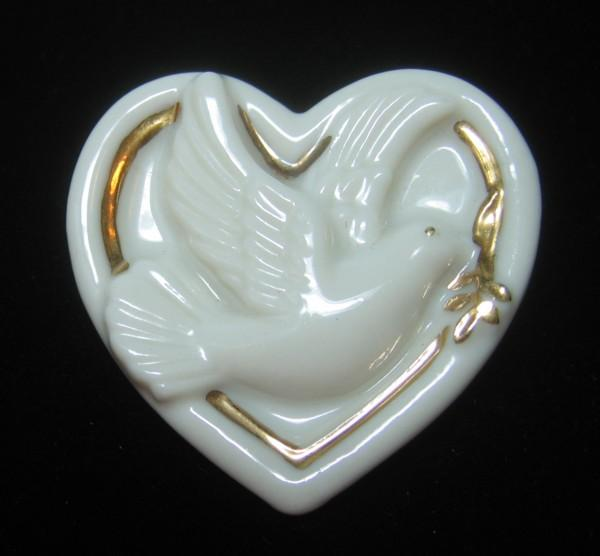 Lenox Porcelain Heart Pin with Dove