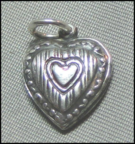 Petite Pinstriped Puffy Heart Charm