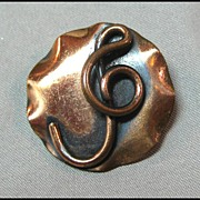 Petite Copper Pin with Treble Clef