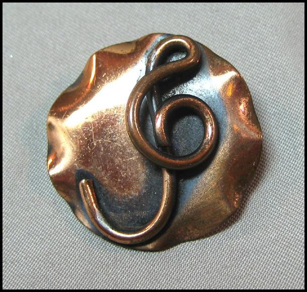 Petite Copper Pin with Treble Clef