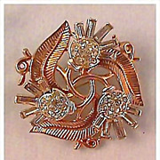 Crown Trifari Thistle Pin - Vintage Costume Jewelry at Its Best
