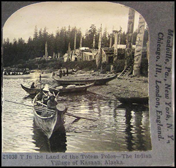 Totem Poles and Indian Village Stereo View by Keystone