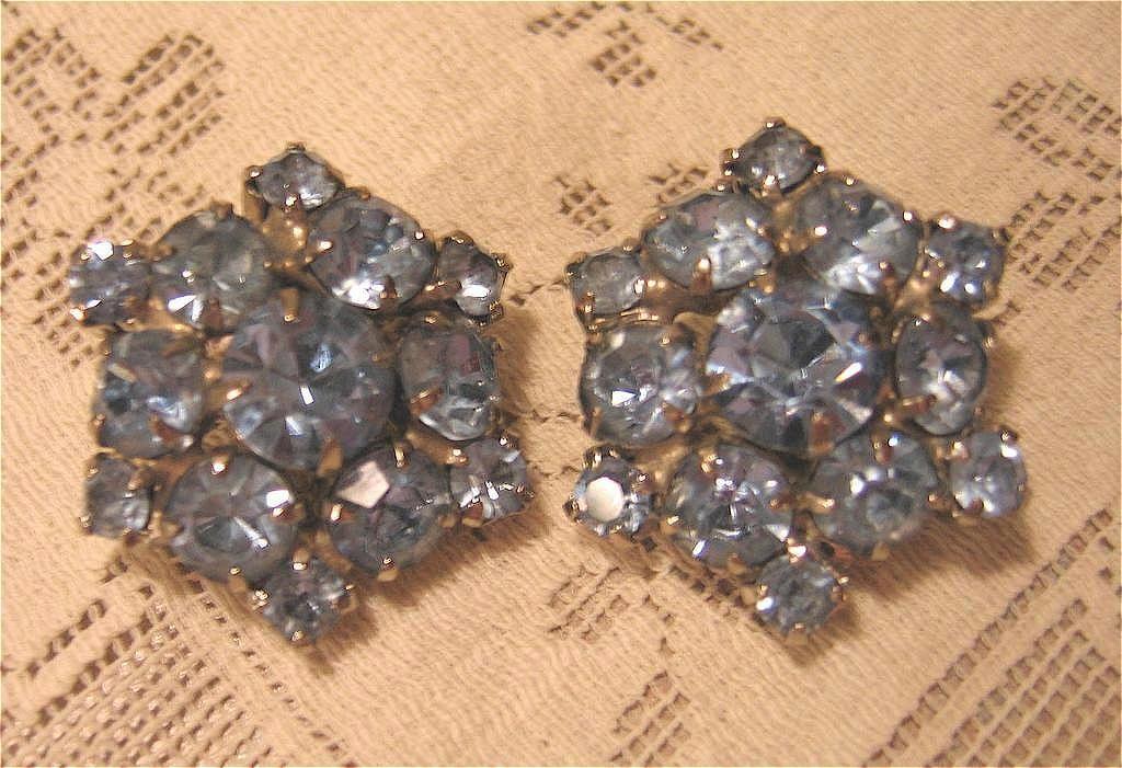 Bright Blue Rhinestone Earrings
