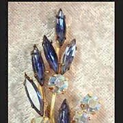Austrian Blue & Aurora Borealis Spray Brooch Pin