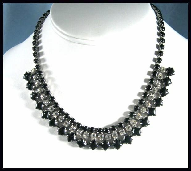 Oh So Elegant Black and Clear Rhinestone Necklace