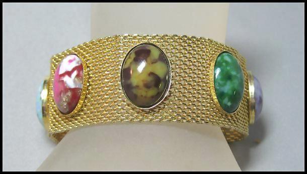 Mesh Bracelet Colored Stones  Sara Coventry