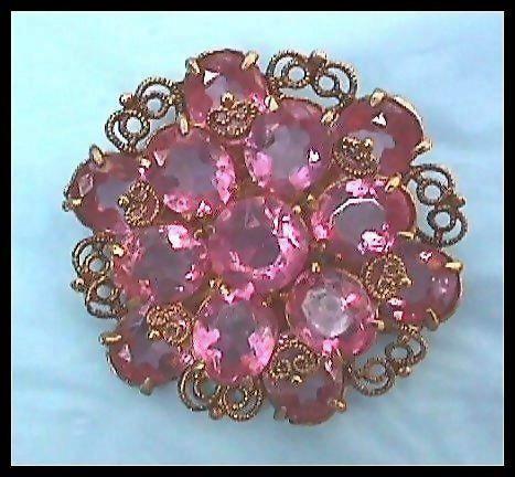 Stunning Pink Rhinestone Pin