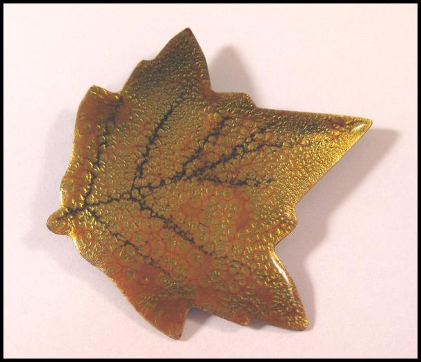 Enamelled Leaf Pin