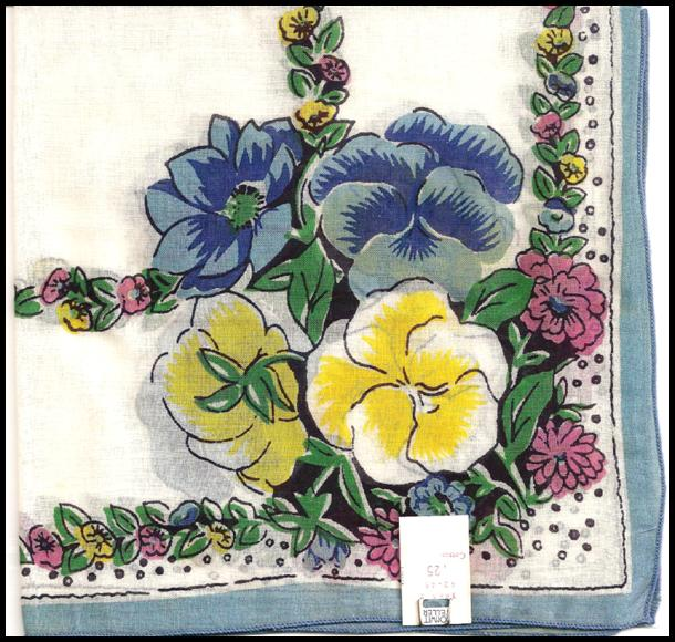 Colorful Hankie with Pansy Decoration