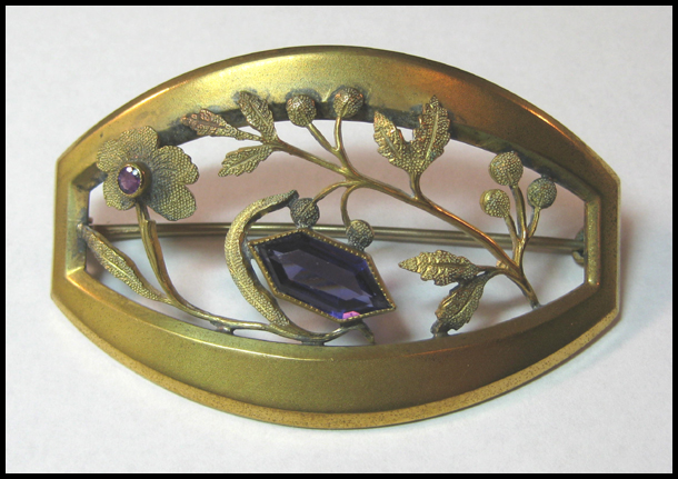 Victorian Sash Pin with Amethyst Colored Stones