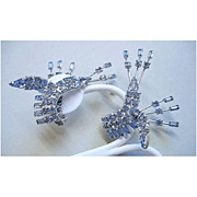 Blue Rhinestone Cuff Earrings Perfect for Pageant or Runway
