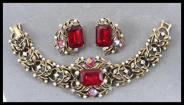 Bracelet and Earrings with Ruby Red Center Stones