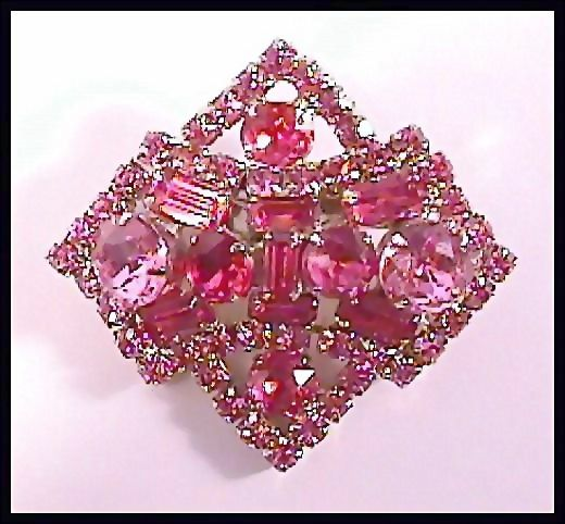 Dazzling Pink Rhinestone Pin Brooch