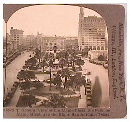 Alamo Plaza, San Antonio, Texas - Keystone Stereo View