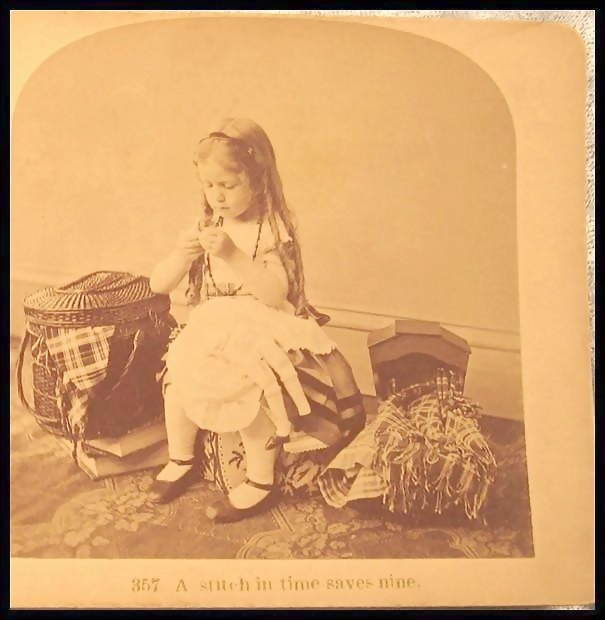 A Stitch in Time Saves Nine - Littleton Stereo View