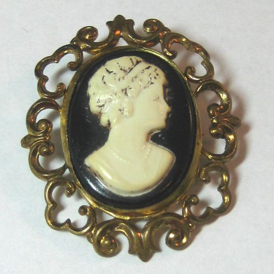 Celluloid Cameo with Stamped Brass Bezel