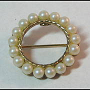 Pretty Petite Circle Pin with Simulated Pearls