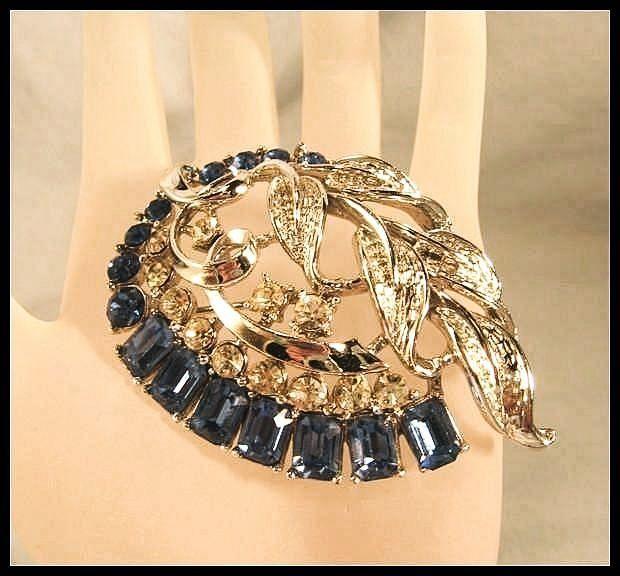 Stunning Blue and Silver Rhinestone Brooch by Star