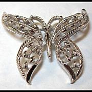 Trifari Butterfly Pin Silver-tone
