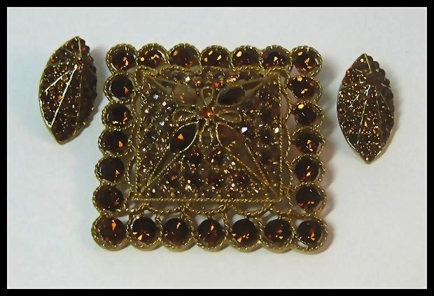 Coro Square Domed Pin with Earrings