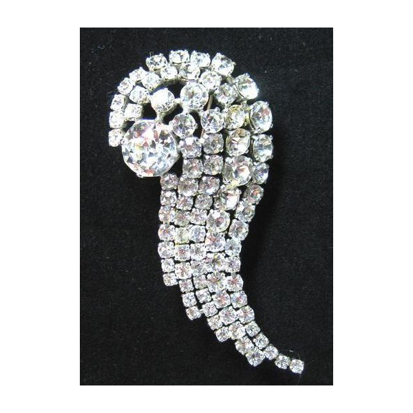 Super Large Comet Shaped Clear Rhinestone Pin