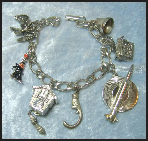 Charm Bracelet with Mechanical Cuckoo Clock