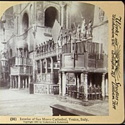 Stereo View of Interior of San Marco Cathedral, Venice, Italy by Underwood & Underwood