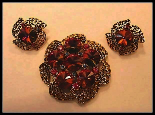 Rivoli Watermelon Demi Parure Brooch & Earrings