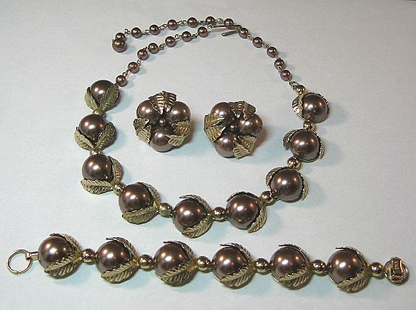 Mink Colored Simulated Pearl Parure by Star