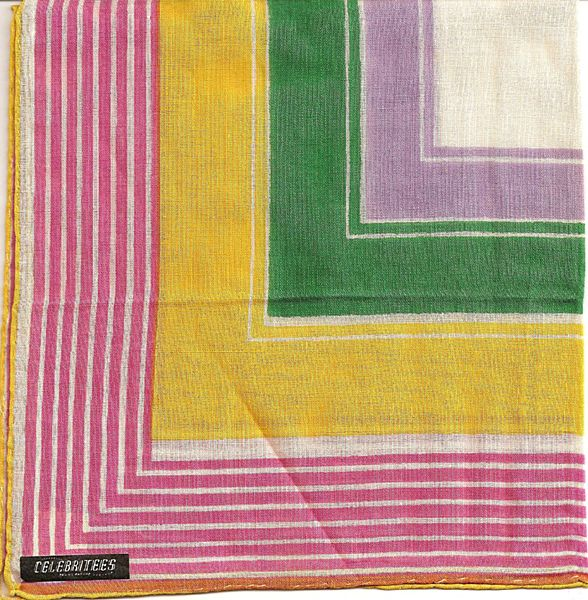 Strikingly Colorful Celebritees Hankie with Original Label