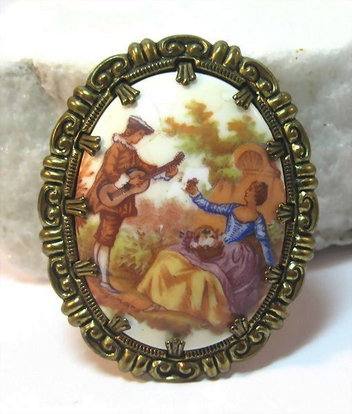 Brass and Porcelain Pin with Victorian Scene